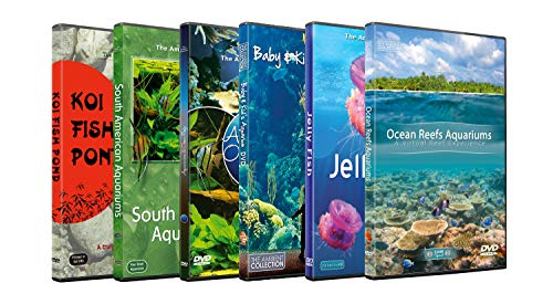 6 Disc Set DVD Combo Pack - Freshwater, Marine, Ocean Reef Aquariums - Aquarium HD Videos with Nature Sounds and Relaxing Music -
