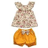 CAT1-RHD Bébé Fille Ensemble Haut Floral Short Jaune pour Enfant 0-24 Mois 2-3 Ans (0-6 Mois)