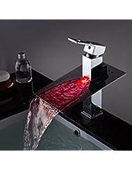 DuZiShi-slt LED todo el cobre, grifo de la bañera, agua caliente y fría, grifo separado de la cuenca