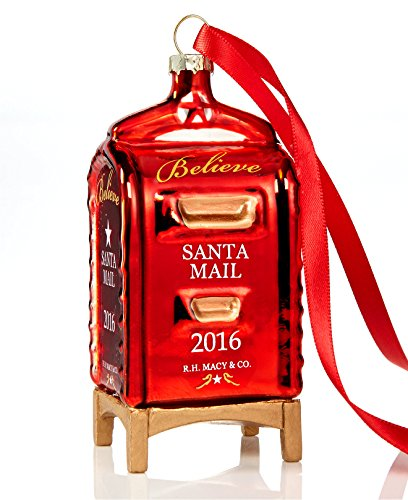 YES Macy 'S JA Virginia 2016 Rot Glas Mailbox Weihnachten Ornament