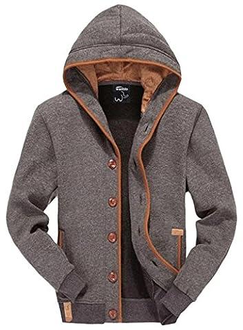 Wantdo Men's Fleece Button Hoodie Sweatshirts Jacket Grey