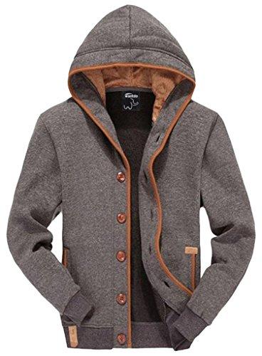 Wantdo Herren Sweatshirt Kapuzenshirt Sweater mit Knöpfen Grau Medium
