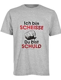 """BRUBAKER Fun Shirt mit lustigen Sprüchen - """"ich bin Scheisse - Du bist Schuld"""" Grau-Melange Baumwolle Gr. M - XXL"""