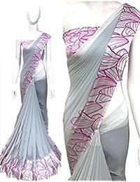 Shailaja Sarees Georgette Saree With Blouse Piece (SSS1374AA_Multi-Coloured_Free Size)