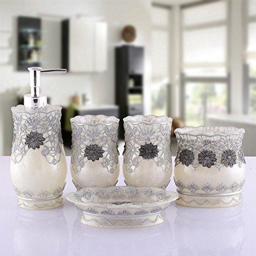 Cinco conjuntos de cuarto de baño de estilo europeo de artículos de baño resina