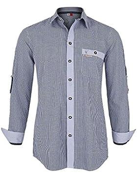 Spieth & Wensky Herren Trachtenhemd Slim Fit Blau Kariert, Blau,