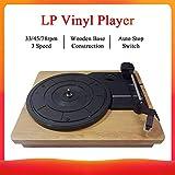 JJmooer Giradischi in stile vintage per dischi in vinile 33/45/78 RPM 3 velocità con base in legno LP portatile Lettore per cuffie RCA