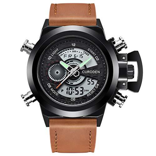 Sisit 22mm einstellbare Herren Leder Sportuhren Quarz LED Digitaluhr wasserdichte Armbanduhr perfekt für Sport Party Hochzeit und das tägliche Tragen (D)