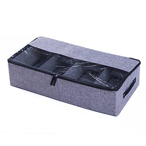 YMYJZ 4 Schubladen Waschbare Tuchspeicherbox, Faltbarer Organizer mit Zipper DIY Multi-Purpose Leinwand Staureireinlage für Home Office Bedroom,Darkgray - Multi Purpose Leinwand