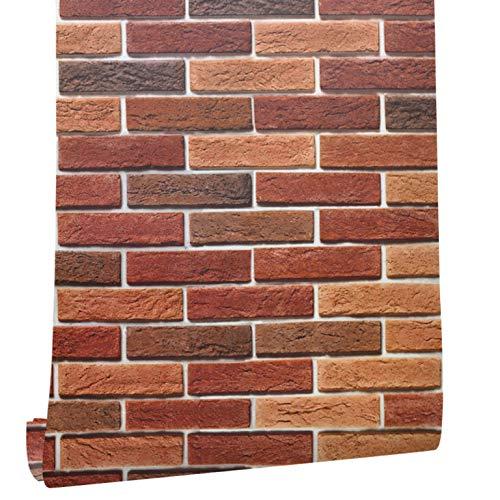 fenjinsheng Fliesenaufkleber 60X300Cm Faux Holzbrett Tapete 3D Peel Stick Aufkleber Rollen Rot/Braun Selbstklebende Wohnzimmer Schlafzimmer Küche Wanddekor