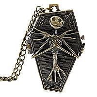 Calavera de aleación de collar de reloj de bolsillo antiguo bronce color Twist cadena para Halloween
