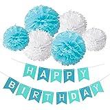 Deco Joyeux Anniversaire, Wartoon HAPPY BIRTHDAY Bannière Banderole Joyeux Anniversaire + 6 Paquets Pompon Papier de Soie Boules de Fleur(Bleu et Blanc)
