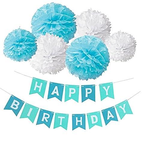 Happy Birthday Girlande Set, Wartoon Habby Birthday Alles Gute Zum Dekoration Deko Geburtstag Girlande Quasten Girlande Geburtstag und 6 Seidenpapier Pompons Pompoms für Geburtstag Dekoration(Blau und