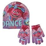 Trolls 2200-2459 Set 2 Pezzi, Coordinati Invernali, Cappello, Guanti, Glitter, Bambina, Multicolore, Principessa Poppy