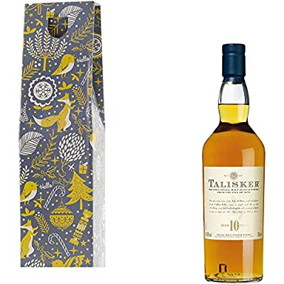 Talisker 10 Year Old Single Malt Scotch Whisky in Xmas Gift Box With Handcrafted Gifts2Drink Tag