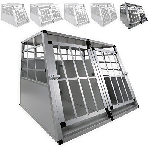 LovPet® XXL Hundebox Transportbox Alubox Hundetransportbox Reisebox Alu Haustiere, Größe: XXL Doppeltüren + Trennwand