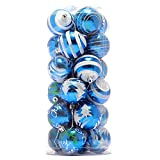 TOOGOO(R) 24 pz Palla di plastica della decorazione dell'albero di Natale di 6cm (Blu)