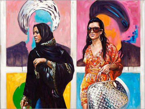 Kostüm Frau Pop Art - Poster 120 x 90 cm: Arab Spring (1) von Ali Hassoun - hochwertiger Kunstdruck, neues Kunstposter