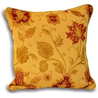 """Riva Paoletti Zurich Cushion Cover - Gold Yellow - Decorative Floral Jacquard Design - Piped Edges - Reversible - 100% Polyester - 45 x 45cm (18"""" x 18"""" inches) - Designed in the UK"""