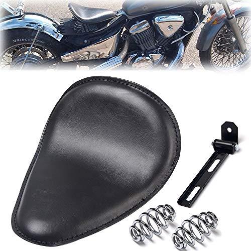Triclicks Sillin para Moto Negro Incluye Soporte y Muelles, Para Chopper/Bobber/Sportster Piel Sintetica