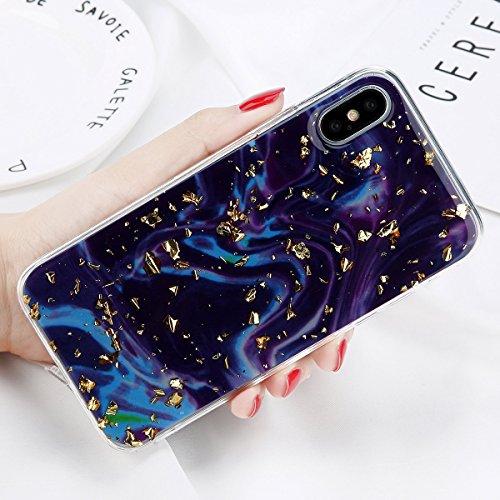 POHONOEO Glitter Bling Goldpulver Telefon Kasten für iPhone X Marmor Silikon Rückseiten Abdeckung Weiche TPU Kästen für iPhone 6 6s 7 8 Plus, purpurrot, für iPhone 8 - Aus Bling Telefon-kästen