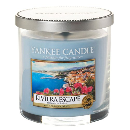 YANKEE CANDLE 1508621E Small Pillar Riviera Escape Duftkerze, Glas, hellblau, 8,7 x 7 x 7 cm
