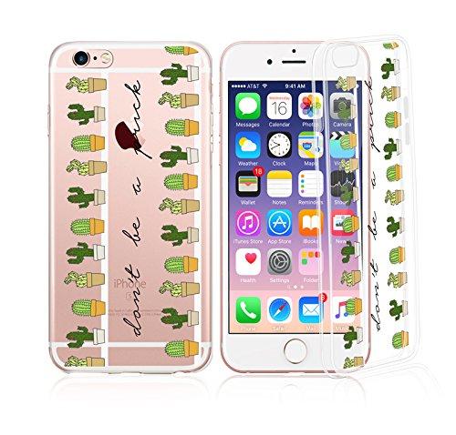 Henna Strawberry (iPhone 7Plus, Bunt, Gummi Flexible Silikon Tasche Bumper für Apple Transparent Cover-Kaktus Don 't Be A Sexy Weh Version)