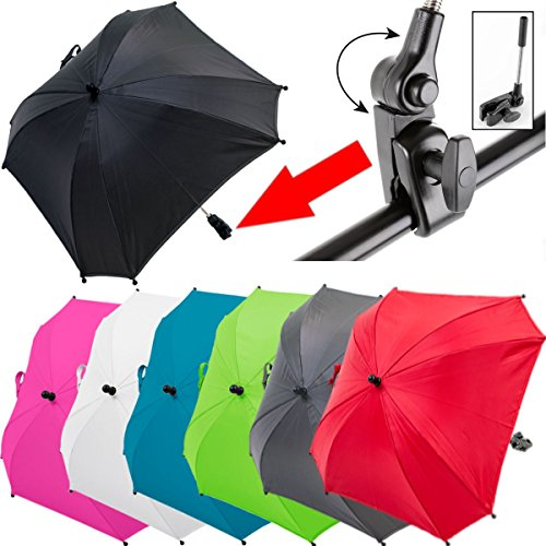 XL SONNENSCHIRM für Kinderwagen/Buggy (UV-SCHUTZ 50+) Schirm WASSERABWEISEND (SCHWARZ)