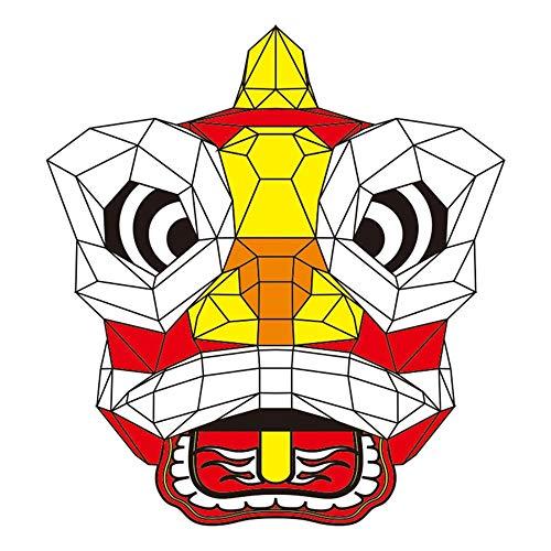 391HOYOO Chinesische Löwenkopf-Maske Party DIY Voll-Gesichtspapier Tiermaske Scary Halloween-Maskerade Party Geburtstag rot