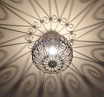 Lustre plafonnier marocain en fer forgé lampe boule marocaine artisanat maroc