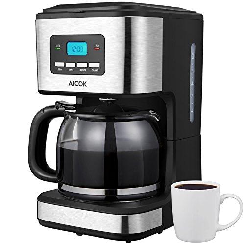 Aicok Kaffeemaschine mit Timer,12 Tassen  Filter-kaffeemaschinen, 1.8L Glaskanne, Dauerfilter, Tropfstopp, Schwarz, - Schwarz Timer Kaffeemaschine Mit