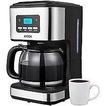 Aicok Macchina Caffè Americano, Macchina per Caffè Elettrica 12 Tazze,Filtri Caffe Americano, Caffettiera Americana Programmabile, Caffettiera in vetro con Timer, Nero
