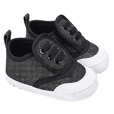 kavitoz Baby Shoes Boy Girl Newborn Crib Soft Sole Shoe Sneakers (6-12M, Dark Gray)