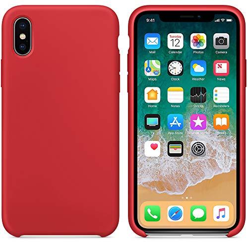 """El último Verano Funda iPhone X, Slim Líquido de Silicona Gel Carcasa Anti-Rasguño y Resistente Huellas Dactilares Totalmente Protectora Caso Cover Case para iPhone X (5.8"""") (Rojo)"""