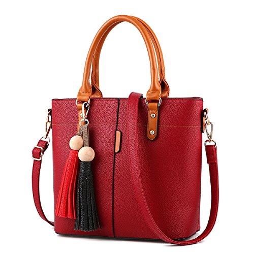 Donne Lady Litchi Pattern Shoulder Nappa Fashion Handbag Winered