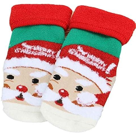 0-5 años Koly Bebé de la Navidad antideslizantes mezcla de algodón calcetines de suelo blando (S, C)