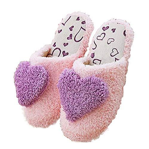 Shujin Damen Mädchen Winter Plüsch Hausschuhe mit Plüsch Herz Deko Wärmehausschuhe Kuschelige Home Pantoffel Rutschfeste Slippers