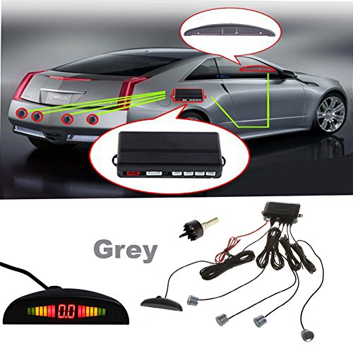 Auto Wayfeng WF® Car Ziffer Farb-LED-Anzeige Parking Reverse Backup-Radar-Monitor-System mit Hintergrundbeleuchtung Display + 4 Sensoren, grau (Reverse-led-sensor Grau)