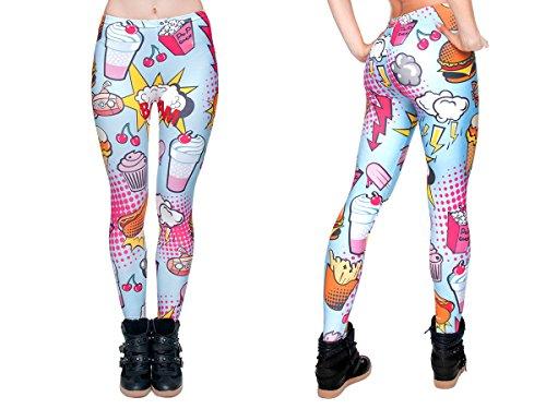 Alsino Leggings Damen Bedruckt Sexy Leggins Ladies mit Print Look Motiv Muster Stretch Legins Hose, wählen:LEG-033 Comic Food