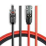 BougeRV Cable de Extensión Solar 3m (10 pies) 10AWG con Conector Hembra y Macho MC4 Kit de Adaptador de Panel Solar (10 Pies Rojo + 10 Pies Negro)