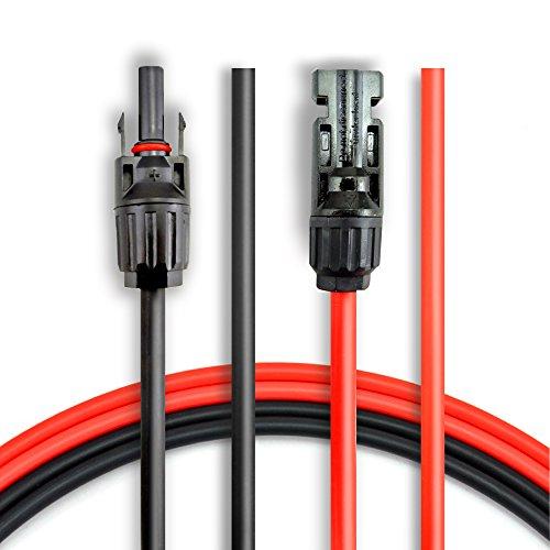 BougeRV 1 Paar 3m 6mm² Solarkabel Verlängerung für MC4 Solarkabel Buchse/Stecker Verbinder