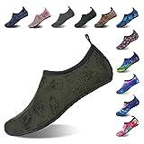 Mabove Chaussures Aquatique pour Femme et Homme Chaussures d'eau Chaussures de Plage de Yoga de Surf de Nager Sport Aquatique Chaussettes de Plongée pour Piscine et Plage(Vert/Feuilles,39/40 EU)