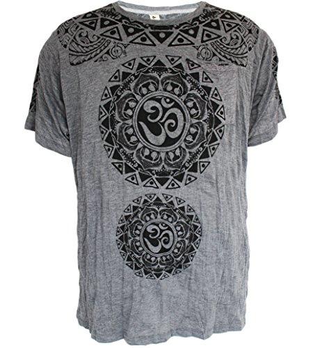 Yoga Shirts - Omtimistic Uomo indù Aum 'Modelli tribali e di Om simbolo' Maglietta (X-Large, grigio)