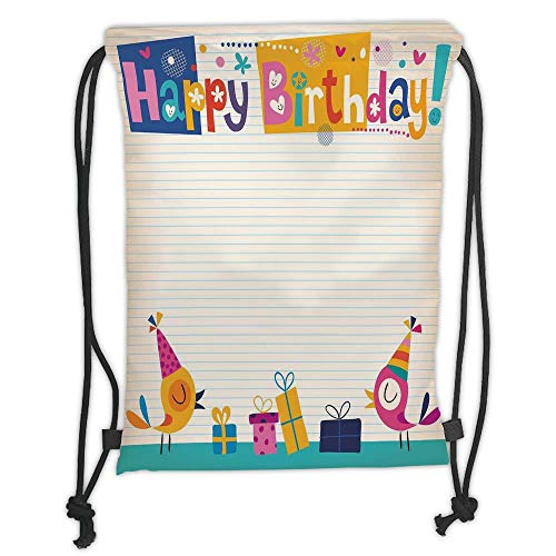 Juzijiang Drawstring Sack Backpacks Bags,Birthday Decorations for Kids,Cartoon Colorful Image Party Birds with Cones Surprise Boxes,Multicolor Soft Satin Closur,5 Liter Capacity,Adjustable. - 30 Gallone Tote Box