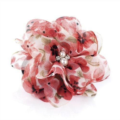 Imprimé floral fleur perle et cristal cheveux élastique Pince bec Bibi
