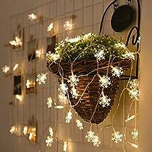 Morbuy LED Snowflake Luces de la Batería de 3m 20 LEDs Interior Luces de Cuerda para El árbol de Navidad, Bonsai, Fondos, Pasarelas, Mantels, Dormitorio Decoración (Blanco cálido)