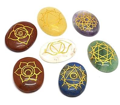 Find Something Different  Set Of 7 Chakra Symbol Round Stones In Velvet,  Unisex Erwachsene Schlüsselanhänger , Multicolour (Multicolour)