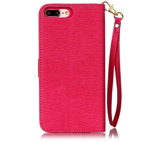 iPhone Case Cover Fleurs pressées de couleur unie PU Housse en cuir avec la main Sac à bandoulière pour IPhone 7 Plus ( Color : Pink , Size : IPhone 7 Plus ) Rose