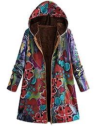 Abrigo Mujer Invierno Rebajas EUZeo Impreso más Grueso Chaqueta Suéter  Abrigo Jersey Mujeres Talla Grande Suelto df9b13ca97dc