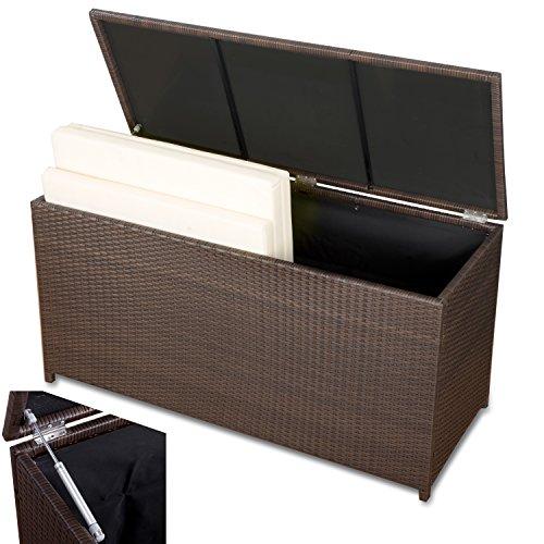 Rattan Auflagenbox Garten Kissenbox braun wasserdicht Polyrattan wetterfeste Kissenbox